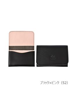 IL BISONTE イルビゾンテ【カードケース 54172309791】ブラック×ピンク